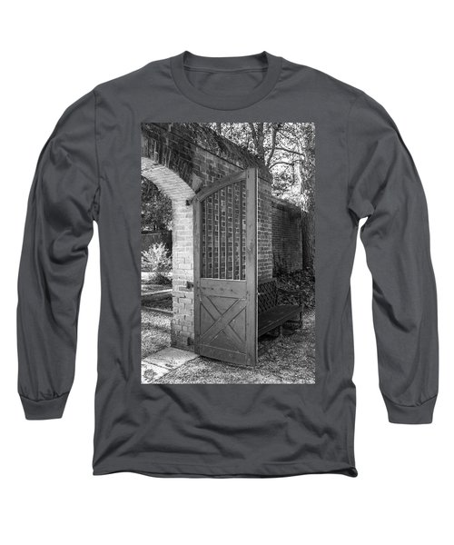 Wooden Garden Door B W Long Sleeve T-Shirt