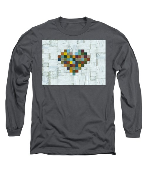 Long Sleeve T-Shirt featuring the digital art Wooden Heart 2.0 by Michelle Calkins