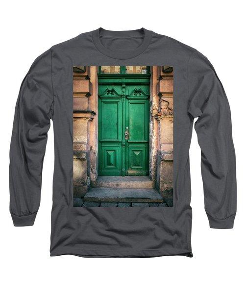 Wooden Ornamented Gate In Green Color Long Sleeve T-Shirt by Jaroslaw Blaminsky