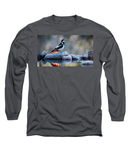 Woodpecker In Backlight Long Sleeve T-Shirt