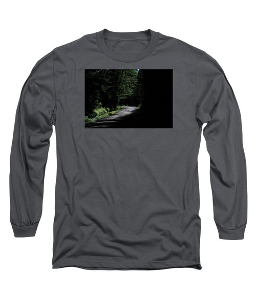 Woods, Road And The Darkness Long Sleeve T-Shirt by John Rossman