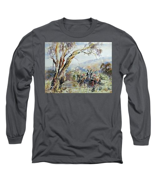 Working Clydesdale Pair, Australian Landscape. Long Sleeve T-Shirt