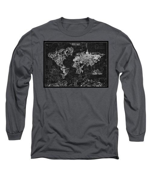 Long Sleeve T-Shirt featuring the digital art World Map Blueprint 2 by Bekim Art