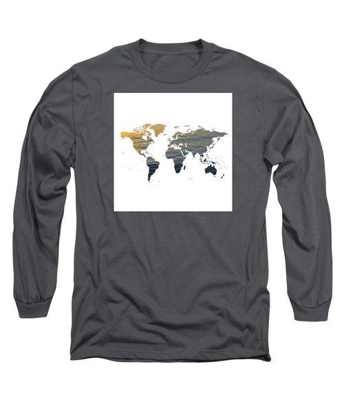 World Map - Ocean Texture Long Sleeve T-Shirt