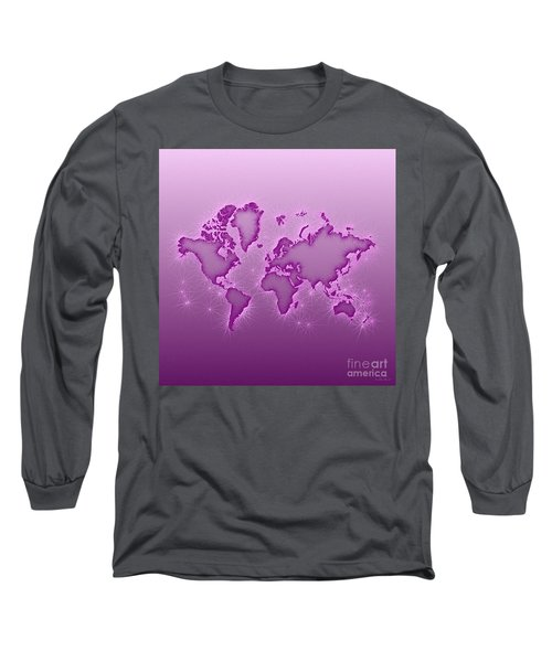 World Map Opala Square In Purple And Pink Long Sleeve T-Shirt