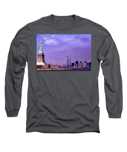 World Trade Center Twin Towers And The Statue Of Liberty  Long Sleeve T-Shirt