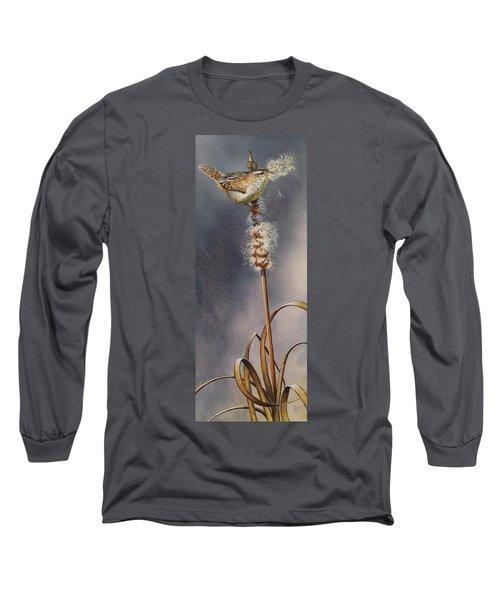 Wren And Cattails Long Sleeve T-Shirt