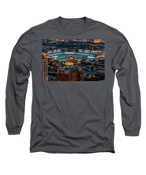 Wrigley Field From Park Place Towers Dsc4678 Long Sleeve T-Shirt by Raymond Kunst