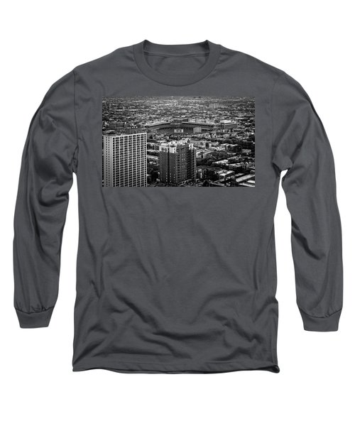 Wrigley Field Park Place Towers Day Bw Dsc4575 Long Sleeve T-Shirt by Raymond Kunst