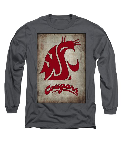 W S U Cougars Long Sleeve T-Shirt by Daniel Hagerman