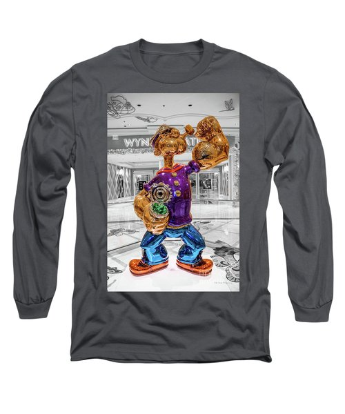 Wynn Popeye Statue Black White And Color By Jeff Koons Long Sleeve T-Shirt