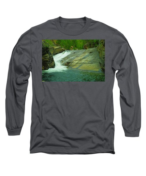 Yak Falls   Long Sleeve T-Shirt by Jeff Swan