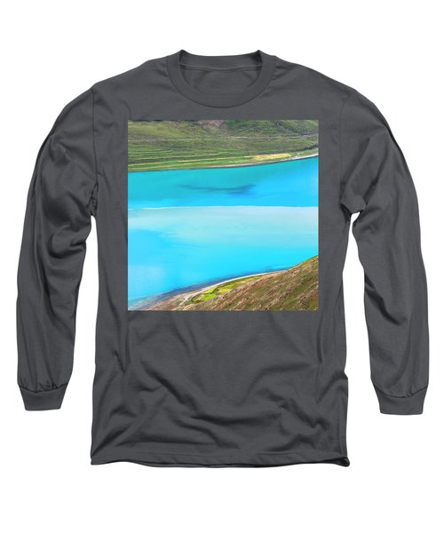 Long Sleeve T-Shirt featuring the photograph Yamdrok Abstract 1, Tibet, 2007 by Hitendra SINKAR