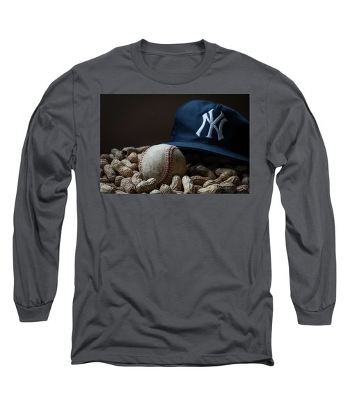Long Sleeve T-Shirt featuring the photograph Yankee Cap Baseball And Peanuts by Terry DeLuco