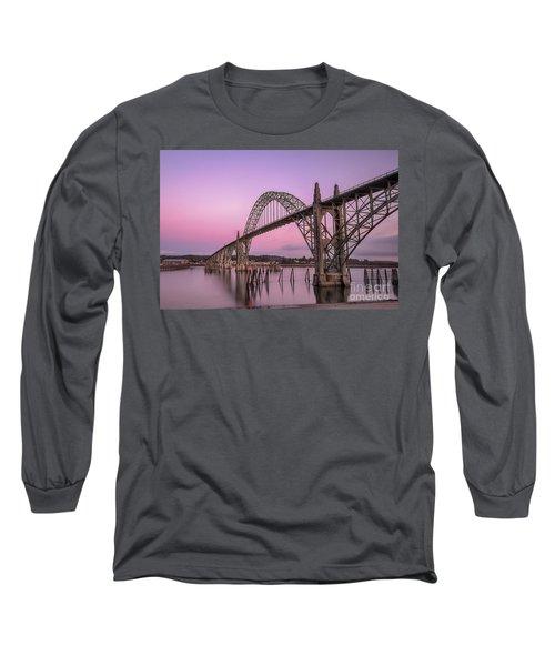 Yaquina Bay Bridge In Blue Light Long Sleeve T-Shirt