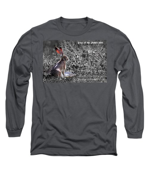 Year Of The Rabbit 2011 . Bw Long Sleeve T-Shirt