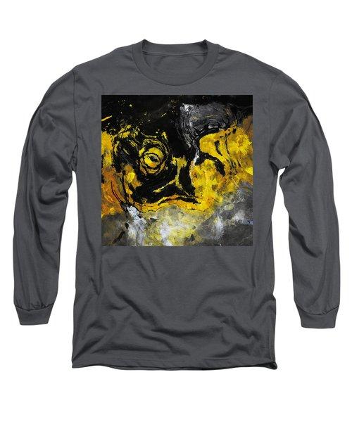 Yellow And Black Abstract Art Long Sleeve T-Shirt by Ayse Deniz