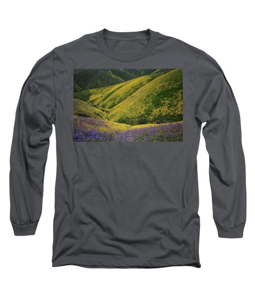 Yellow And Purple Wildlflowers Adourn The Temblor Range At Carrizo Plain National Monument Long Sleeve T-Shirt