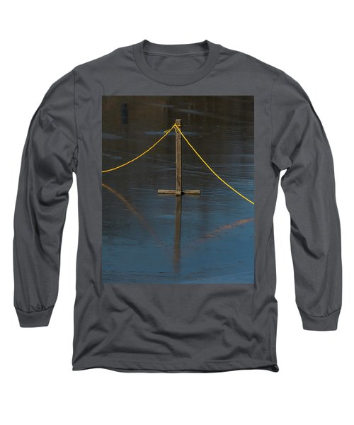 Long Sleeve T-Shirt featuring the photograph Yellow Boundary On Ice by Gary Slawsky