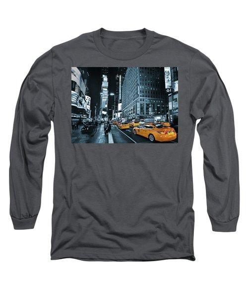 Yellow Broadway At Night - Nyc Long Sleeve T-Shirt