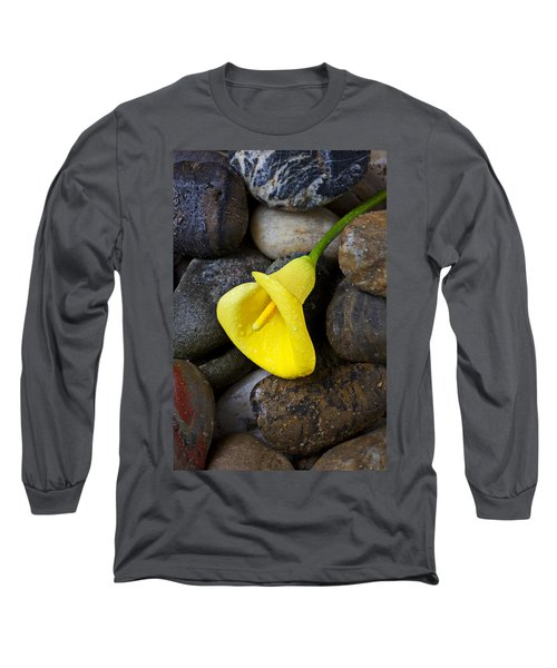 Yellow Calla Lily On Rocks Long Sleeve T-Shirt
