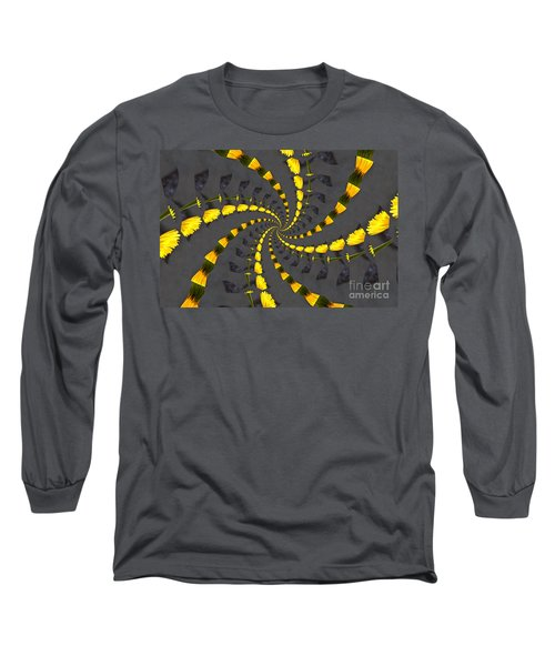 Yellow Daisy Spin Wheel  Long Sleeve T-Shirt