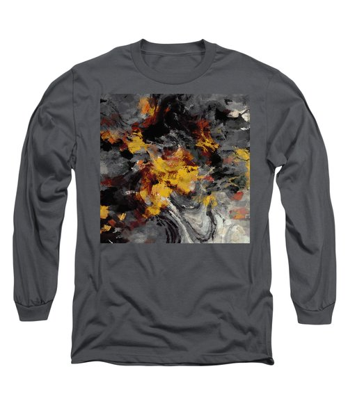 Yellow / Golden Abstract / Surrealist Landscape Painting Long Sleeve T-Shirt by Ayse Deniz
