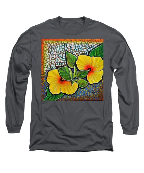Yellow Hibiscus A Decorative Painting With Mosaic Style On Sale Long Sleeve T-Shirt