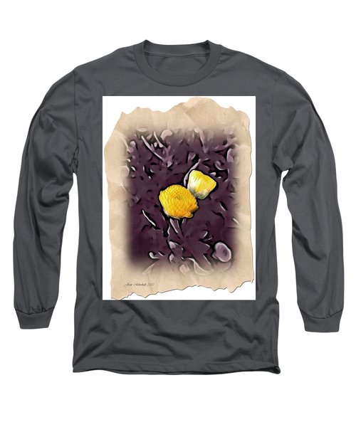 Long Sleeve T-Shirt featuring the photograph Yellow In Purple by Joan  Minchak