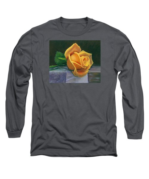 Long Sleeve T-Shirt featuring the painting Yellow Rose by Janet King