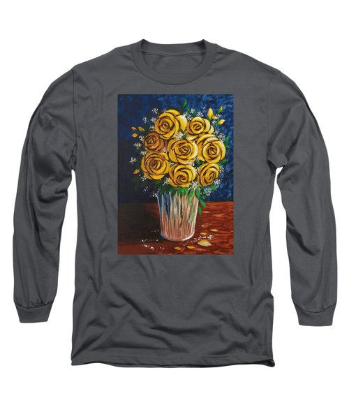 Long Sleeve T-Shirt featuring the painting Yellow Roses by Katherine Young-Beck