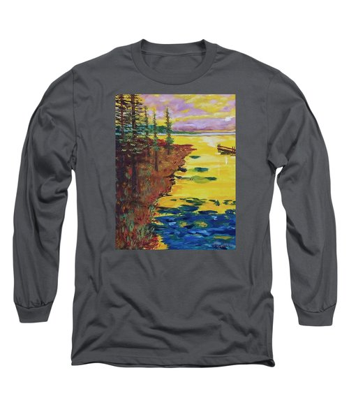Yellow Sunset Long Sleeve T-Shirt by Mike Caitham