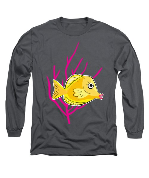Yellow Tang In Pink Coral Sea Long Sleeve T-Shirt