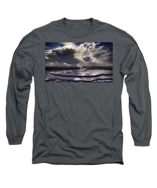 Yellowstone Geysers And Hot Springs Long Sleeve T-Shirt by Jason Moynihan
