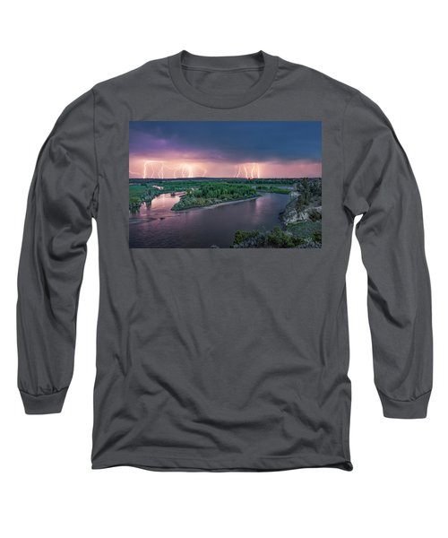 Yellowstone River Lightning Long Sleeve T-Shirt by Leland D Howard