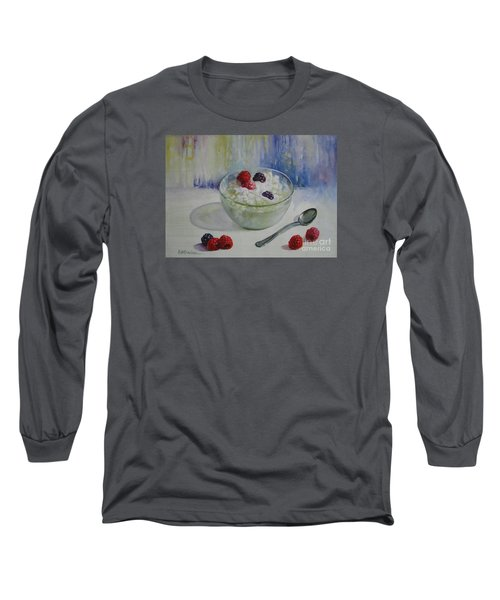 Long Sleeve T-Shirt featuring the painting Yoghurt Time by Elena Oleniuc