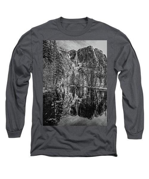 Long Sleeve T-Shirt featuring the photograph Yosemite Falls From The Swinging Bridge In Black And White by Bill Gallagher