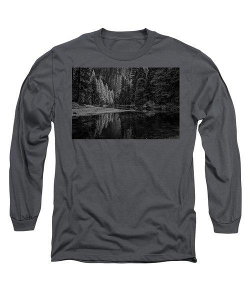 Yosemite Valley Reflactions Bw Long Sleeve T-Shirt