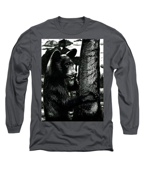 Young Black Bear In Tree  Long Sleeve T-Shirt