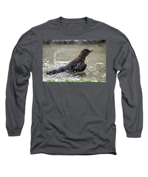 Long Sleeve T-Shirt featuring the photograph Young Blackbird's Bath by Torbjorn Swenelius