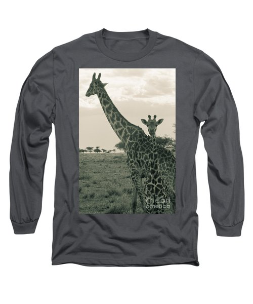 Young Giraffe With Mom In Sepia Long Sleeve T-Shirt by Darcy Michaelchuk