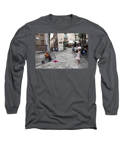 Long Sleeve T-Shirt featuring the photograph Young Girl Listening To Guitar - Grenada - Spain by Madeline Ellis