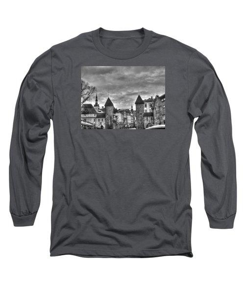 Long Sleeve T-Shirt featuring the pyrography Yury Bashkin Tallinn Black-and-white Look by Yury Bashkin