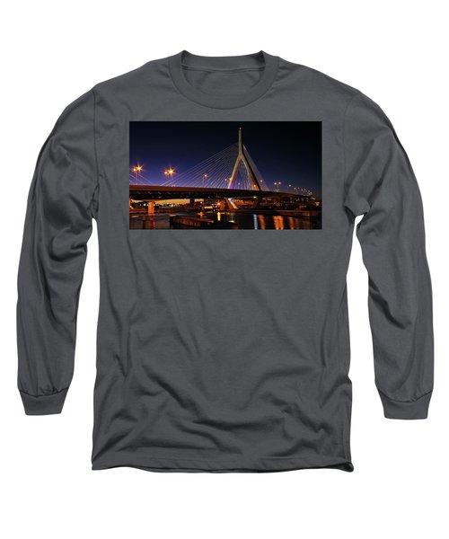 Zakim Bridge Boston Massachusetts At Night Long Sleeve T-Shirt by Betty Denise