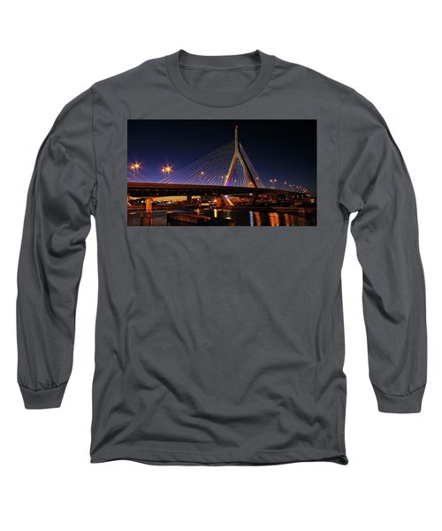 Zakim Bridge Boston Massachusetts At Night Long Sleeve T-Shirt