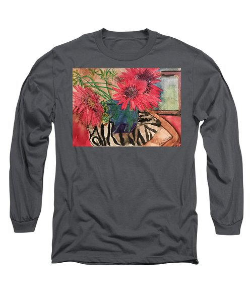 Zebra And Red Sunflowers  Long Sleeve T-Shirt