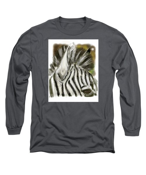 Zebra Digital Long Sleeve T-Shirt by Darren Cannell