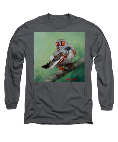 Long Sleeve T-Shirt featuring the painting Zebra Finch Miniature by Margaret Stockdale