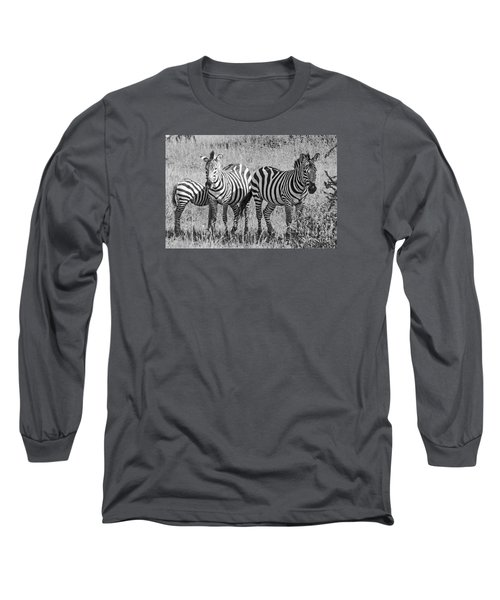 Long Sleeve T-Shirt featuring the photograph Zebras In Thought by Pravine Chester
