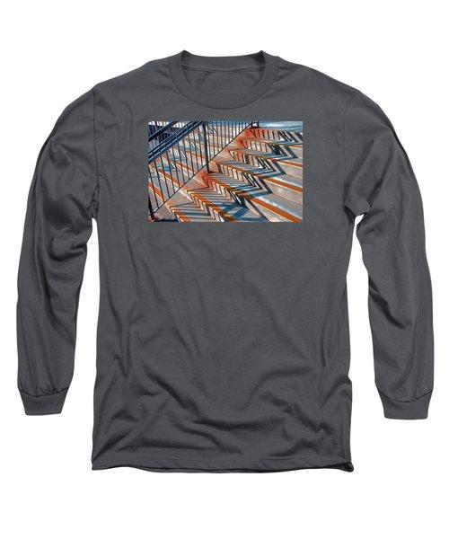 Zig Zag Shadows On Train Station Steps Long Sleeve T-Shirt by Gary Slawsky